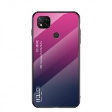 Gradient Glass Durable Cover with Tempered Glass Back Xiaomi Redmi 9C pink-purple
