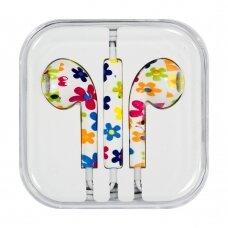 Headphones with microphone iPhone iPad iPod flowers (model 11)