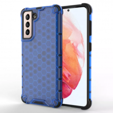 Honeycomb Case armor cover with TPU Bumper for Samsung Galaxy S21 5G blue