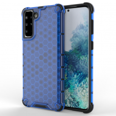 Honeycomb Case armor cover with TPU Bumper for Samsung Galaxy S21+ 5G (S21 Plus 5G) blue