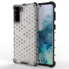 Honeycomb Case armor cover with TPU Bumper for Samsung Galaxy S21+ 5G (S21 Plus 5G) transparent