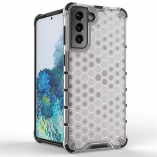 Honeycomb Case armor cover with TPU Bumper for Samsung Galaxy S21 5G transparent
