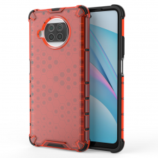 Honeycomb Case armor cover with TPU Bumper for Xiaomi Mi 10T Lite red