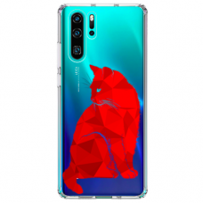"Huawei P30 pro silicone phone case with unique design 1.0 mm ""u-case Airskin Red Cat design"""