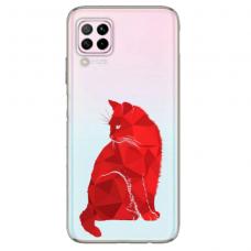 """Huawei P40 Lite Unique Silicone Case 1.0 mm """"u-case Airskin Red Cat design"""""""