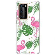 """Huawei P40 Pro Unique Silicone Case 1.0 mm """"u-case airskin Flamingos design"""""""