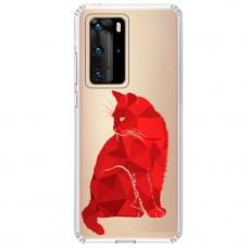 """Huawei P40 Pro Unique Silicone Case 1.0 mm """"u-case Airskin Red Cat design"""""""