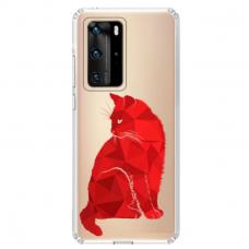"""Huawei P40 Unique Silicone Case 1.0 mm """"u-case Airskin Red Cat design"""""""