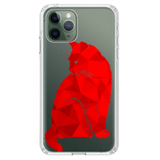 "Iphone 11 Pro silicone phone case with unique design 1.0 mm ""u-case Airskin Red Cat design"""