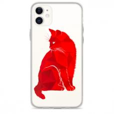 "Iphone 12 Mini Unique Silicone Case 1.0 mm ""u-case Airskin Red Cat design"""