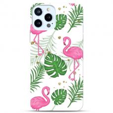 """Iphone 12 Pro max Unique Silicone Case 1.0 mm """"u-case Airskin Flamingos design"""""""