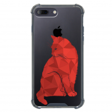 "Iphone 7 Plus / Iphone 8 Plus silicone phone case with unique design 1.0 mm ""u-case airskin Red Cat design"""