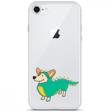 """Iphone SE 2020 silicone phone case with unique design 1.0 mm """"u-case Airskin Doggo 4 design"""""""
