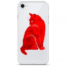 """Iphone SE 2020 silicone phone case with unique design 1.0 mm """"u-case Airskin Red Cat design"""""""