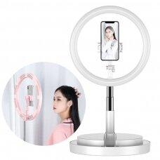 LED selfie ring light flash 52 - 170 cm tripod with phone holder white