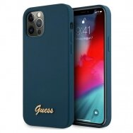 "Original Guess Case GUHCP12MLSLMGBL iPhone 12/12 Pro 6,1"" blue hardcase Metal Logo Script"