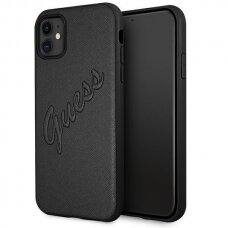 Original Guess Case GUHCN61RSAVSBK iPhone 11 black hardcase Saffiano Vintage Script