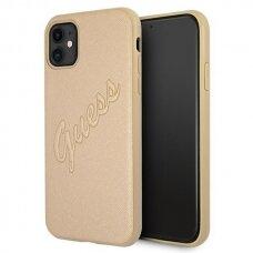 Original Guess Case GUHCN61RSAVSLG iPhone 11 gold hardcase Saffiano Vintage Script