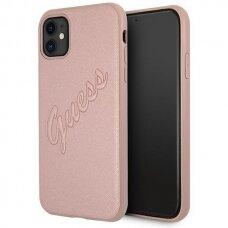 Original Guess Case GUHCN61RSAVSRG iPhone 11 pink hardcase Saffiano Vintage Script