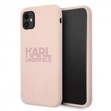 Original Karl Lagerfeld Case KLHCN61STKLTLP iPhone 11 Silicone Stack Logo pink