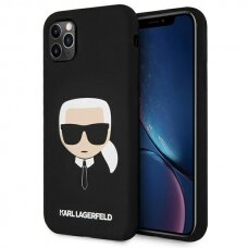 Original Karl Lagerfeld Case KLHCN65SLKHBK iPhone 11 Pro Max black hardcase Silicone Karl`s Head