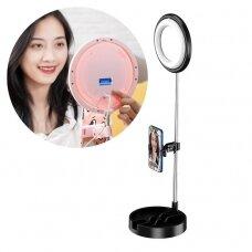 Phone stand for live streaming YouTube TikTok Instagram video recording set LED selfie ring light flash black (1TMJ black)