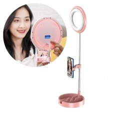 Phone stand for live streaming YouTube TikTok Instagram video recording set LED selfie ring light flash pink (1TMJ pink)