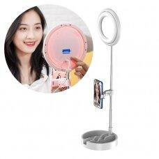 Phone stand for live streaming YouTube TikTok Instagram video recording set LED selfie ring light flash white (1TMJ white)