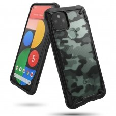 Ringke Fusion X Design durable PC Case with TPU Bumper for Google Pixel 5 Camo Black (FXGG0016)