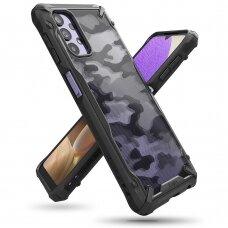 Ringke Fusion X Design durable PC Case with TPU Bumper for Samsung Galaxy A32 5G Camo Black (XDSG0058)