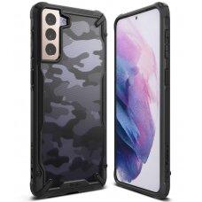 Ringke Fusion X Design durable PC Case with TPU Bumper for Samsung Galaxy S21 5G Camo Black (XDSG0044)