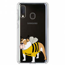 "Samsung Galaxy A20e silicone phone case with unique design 1.0 mm ""u-case Airskin Doggo 1 design"""