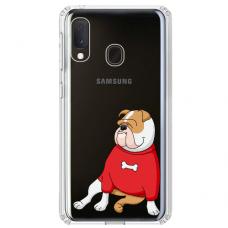"Samsung Galaxy A20e silicone phone case with unique design 1.0 mm ""u-case airskin Doggo 5 design"""