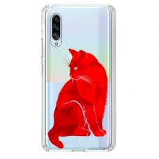 """Samsung Galaxy A50 silicone phone case with unique design 1.0 mm """"u-case Airskin Red Cat design"""""""