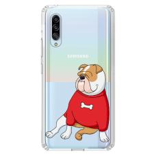 "Samsung Galaxy A70 silicone phone case with unique design 1.0 mm ""u-case airskin Doggo 5 design"""