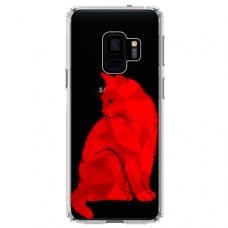 """Samsung Galaxy a8 2018 silicone phone case with unique design 1.0 mm """"u-case Airskin Red Cat design"""""""