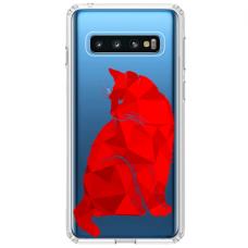 "Samsung Galaxy S10 Plus Unique Silicone Case 1.0 mm ""u-case Airskin Red Cat design"""