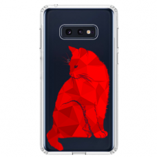 "Samsung Galaxy S10e Unique Silicone Case 1.0 mm ""u-case Airskin Red Cat design"""