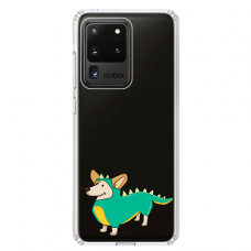"Samsung Galaxy S20 ultra silicone phone case with unique design 1.0 mm ""u-case Airskin Doggo 4 design"""