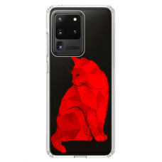 "Samsung Galaxy S20 ultra silicone phone case with unique design 1.0 mm ""u-case Airskin Red Cat design"""