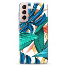 "Samsung Galaxy S21 Unique Silicone Case 1.0 mm ""u-case Airskin Leaves 1 design"""