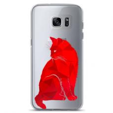"Samsung Galaxy S7 edge silicone phone case with unique design 1.0 mm ""u-case Airskin Red Cat design"""