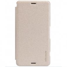 sony xperia z3 compact PU Leather Flip Case Nillkin Sparkle sand coloured