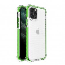 Spring Armor clear TPU gel rugged protective cover with colorful frame for iPhone 11 Pro green