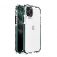 Spring Armor clear TPU gel rugged protective cover with colorful frame for iPhone 11 Pro Max green