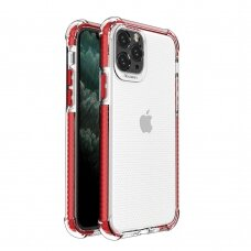 Spring Armor clear TPU gel rugged protective cover with colorful frame for iPhone 11 Pro red