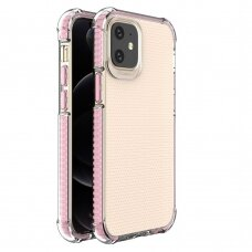 Spring Armor clear TPU gel rugged protective cover with colorful frame for iPhone 12 mini pink