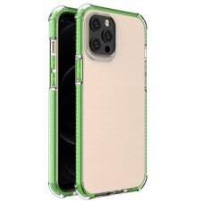 Spring Armor clear TPU gel rugged protective cover with colorful frame for iPhone 12 Pro Max green