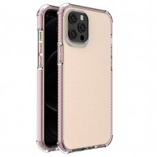 Spring Armor clear TPU gel rugged protective cover with colorful frame for iPhone 12 Pro Max pink