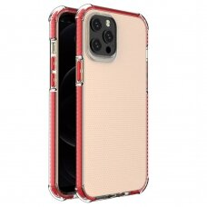 Spring Armor clear TPU gel rugged protective cover with colorful frame for iPhone 12 Pro Max red